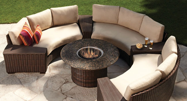 LLoyd Flanders sectional and firepit